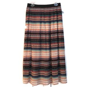 NY Collection Maxi Skirt Multicolor Pleated Size L